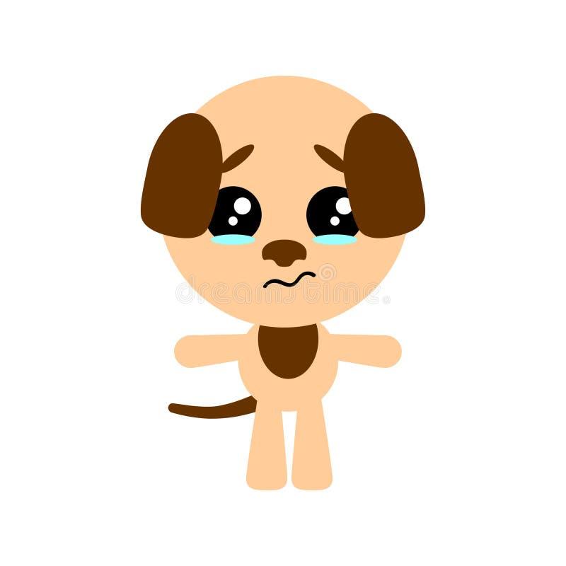 Cão bonito do vetor Caráter triste dos desenhos animados Fundo branco Projeto liso Vetor ilustração do vetor