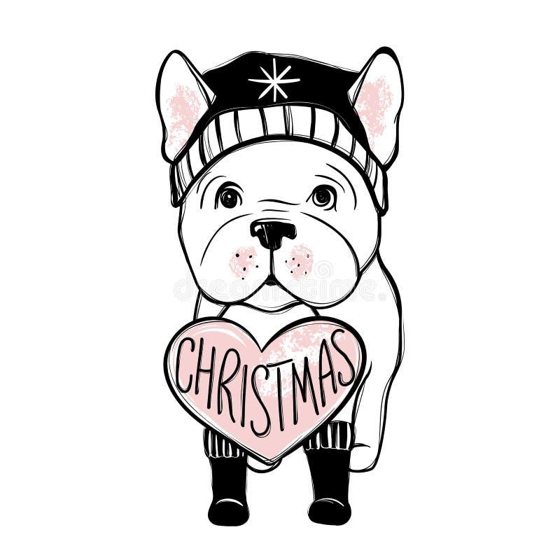 Cão bonito do vetor na roupa do inverno Cachorrinho do buldogue francês da forma Animais à moda Roupa para animais de estimação ilustração stock