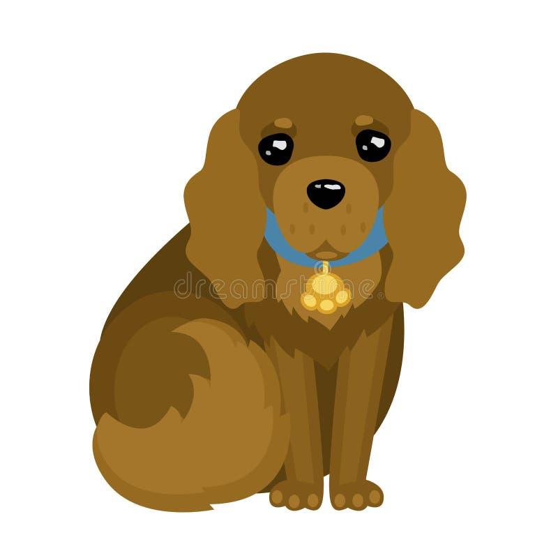 Cão bonito dos desenhos animados - cocker spaniel ilustração do vetor