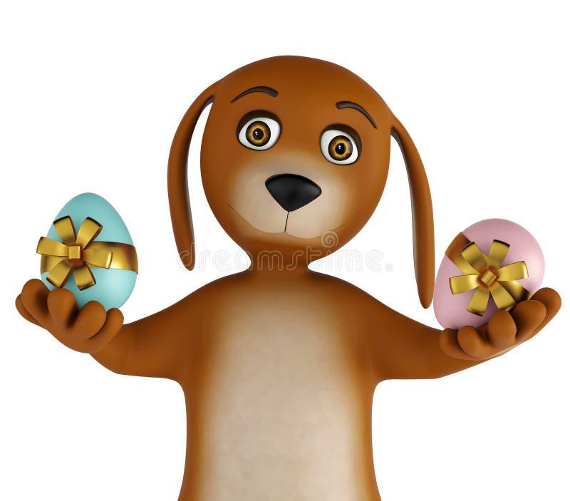 Cão bonito dos desenhos animados com os ovos da páscoa isolados no fundo branco 3d rendem ilustração do vetor