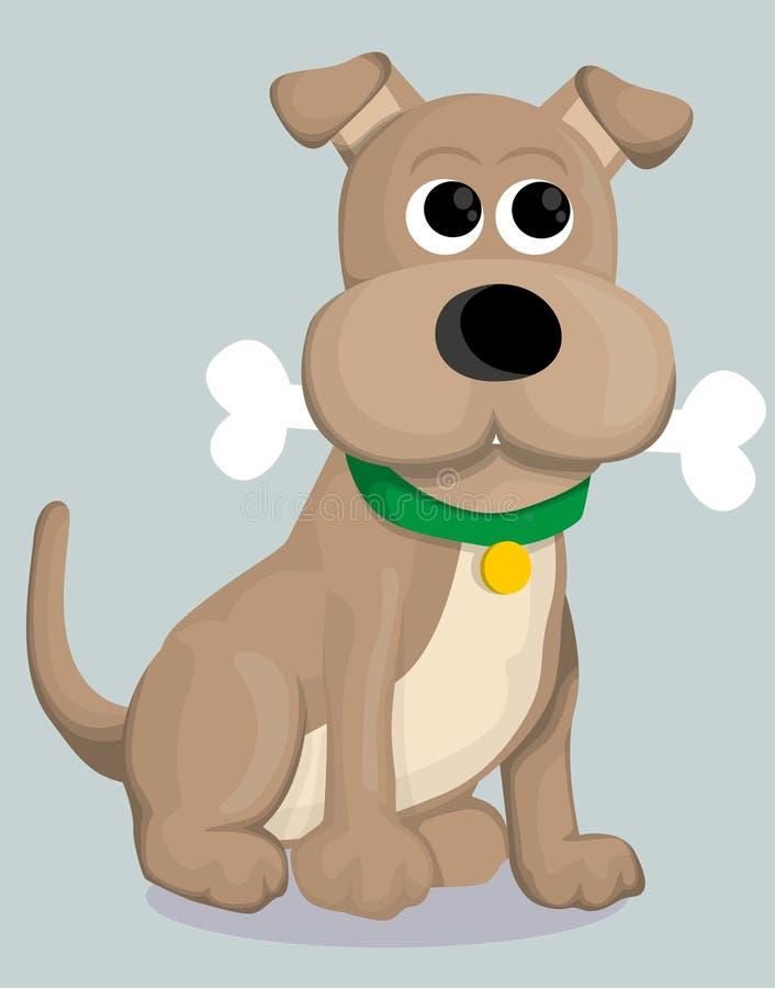 Cão bonito dos desenhos animados com osso ilustração do vetor