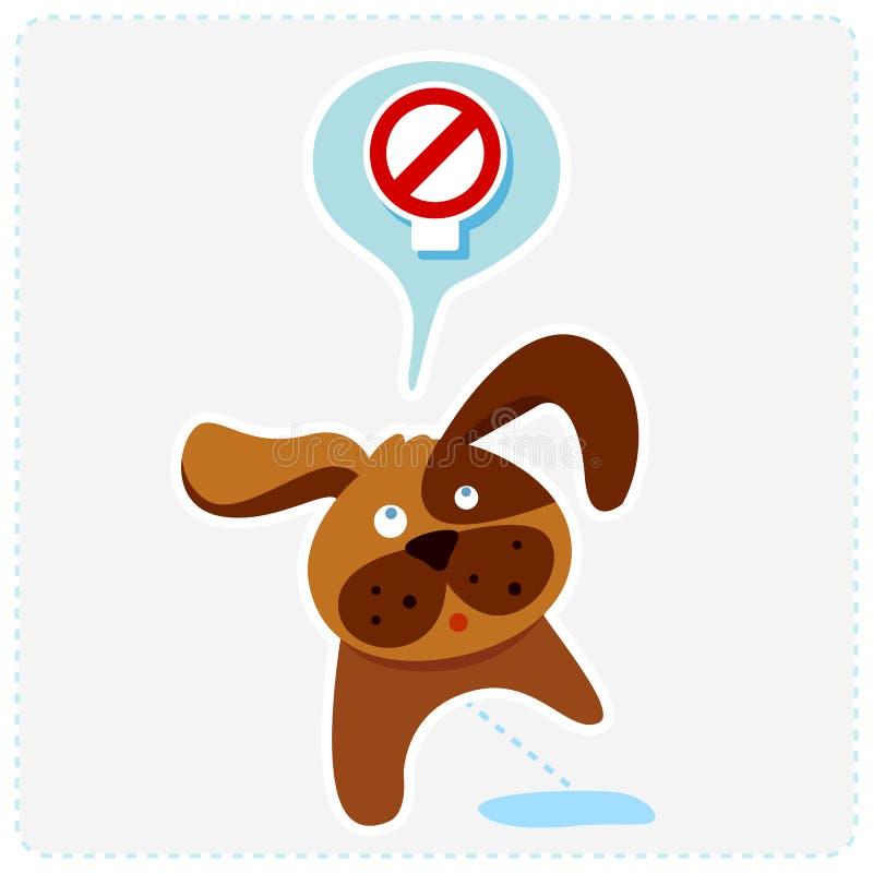 Cão bonito dos desenhos animados com sinal - vector a ilustração ilustração royalty free