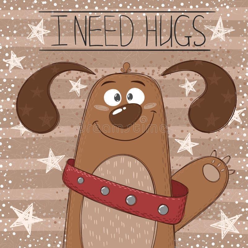 Cão bonito, engraçado - ilustração dos desenhos animados ilustração royalty free