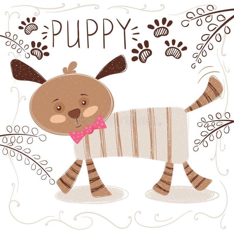 Cão bonito, engraçado - ilustração dos desenhos animados ilustração stock