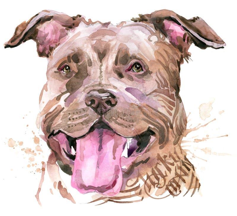 Cão bonito Gráficos do t-shirt do cão ilustração do cão da aquarela Raça agressiva do cão ilustração do vetor