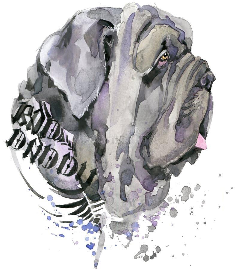 Cão bonito Gráficos do t-shirt do cão ilustração do cão da aquarela Raça agressiva do cão ilustração stock