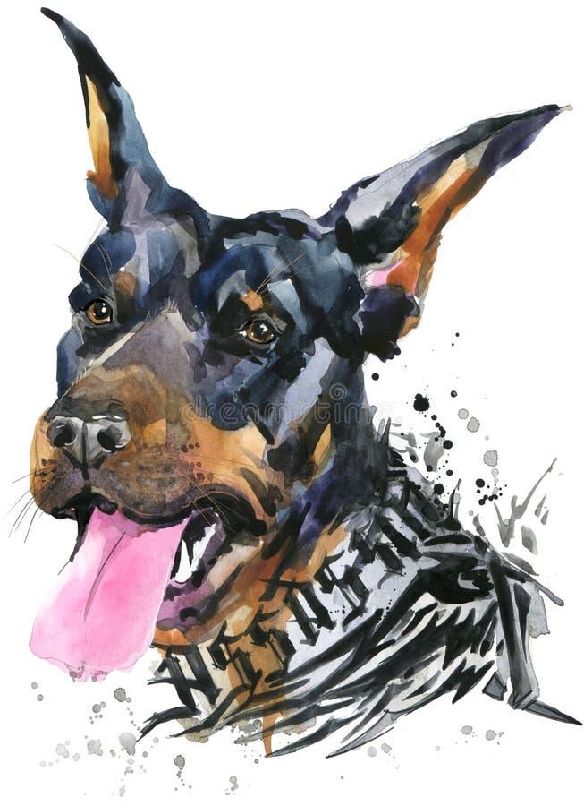 Cão bonito Gráficos do t-shirt do cão ilustração do cão da aquarela Raça agressiva do cão ilustração royalty free