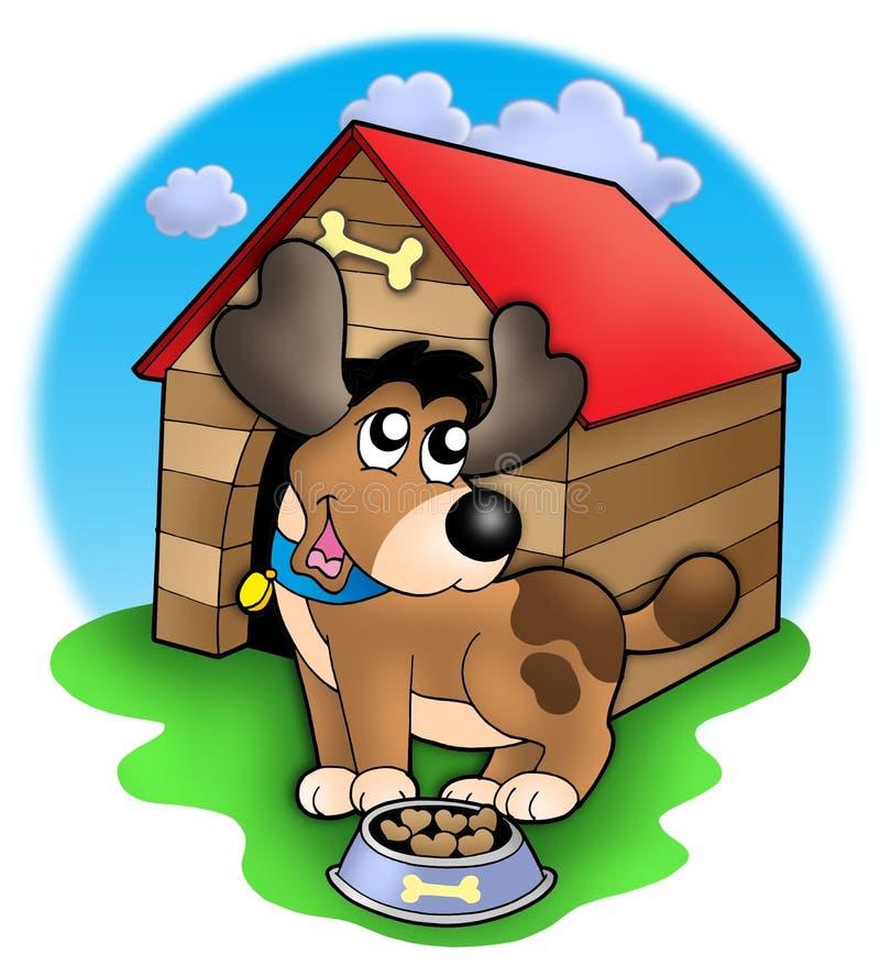 Cão bonito na frente do canil ilustração royalty free
