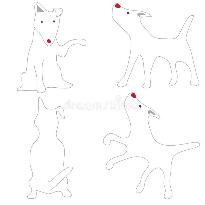 Cão branco de bull terrier que actua bonito ilustração do vetor