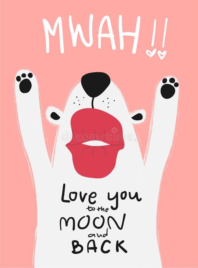 Cão branco do cartão do amor com mwah grande do beijo ilustração stock