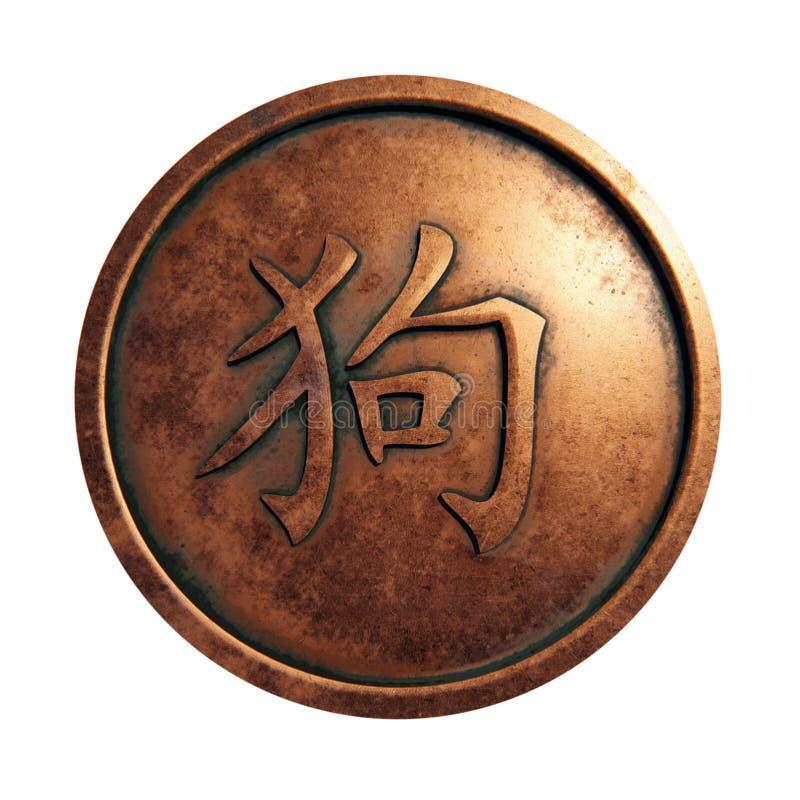 Cão chinês do sinal do zodíaco no círculo de cobre ilustração royalty free