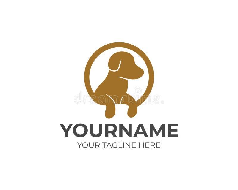 Cão com as patas no molde do logotipo do círculo Animal de estimação no projeto do vetor da forma redonda ilustração royalty free
