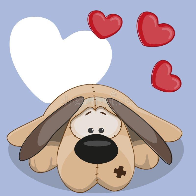 Cão com corações ilustração royalty free