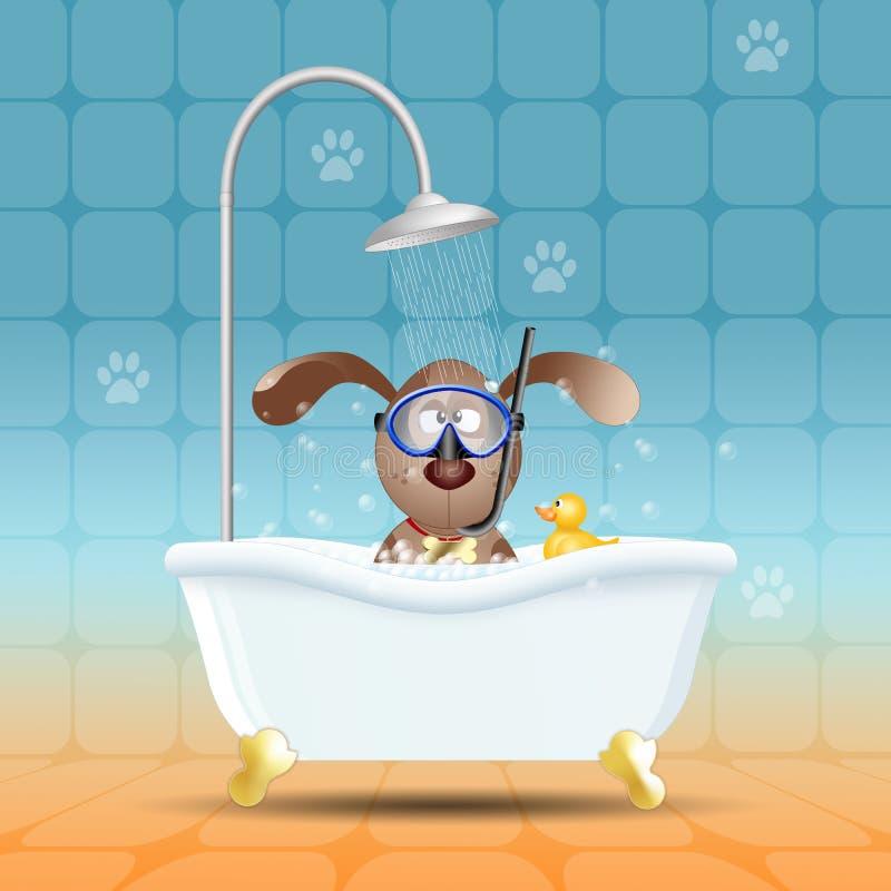 Cão com máscara do mergulho no banho ilustração royalty free