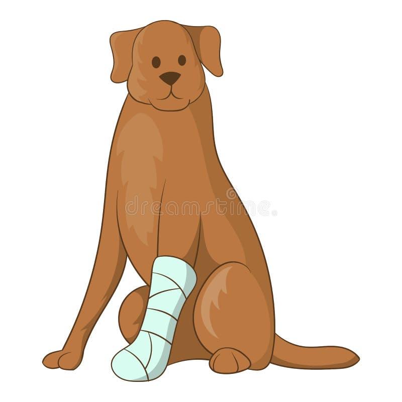 Cão com um ícone ferido do pé, estilo dos desenhos animados ilustração do vetor