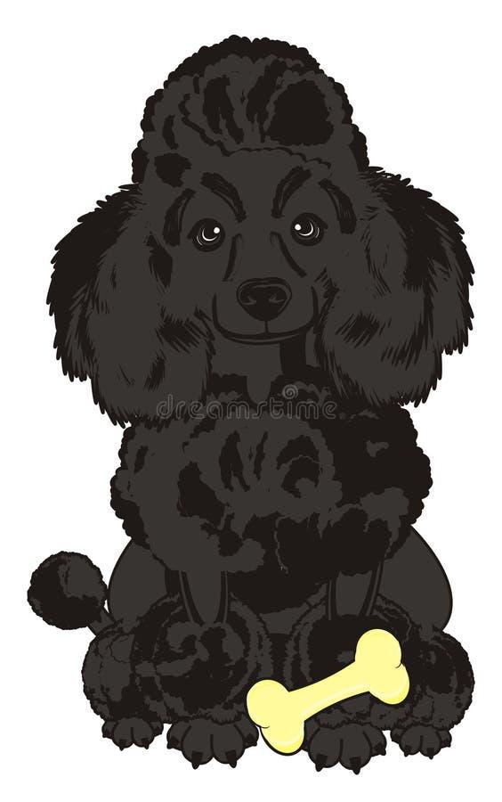 Cão com um osso ilustração stock