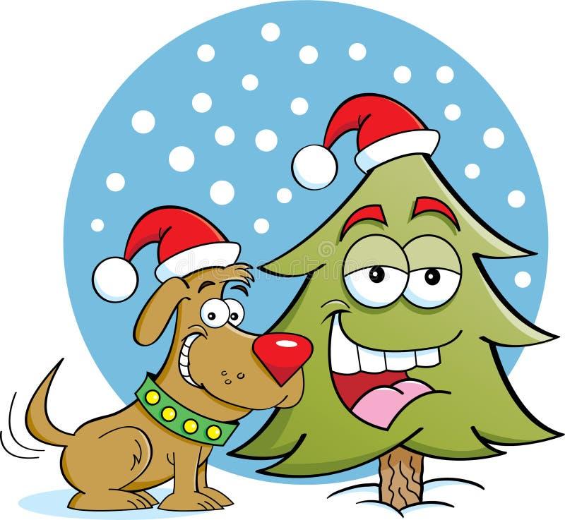 Cão com uma árvore de pinho ilustração royalty free