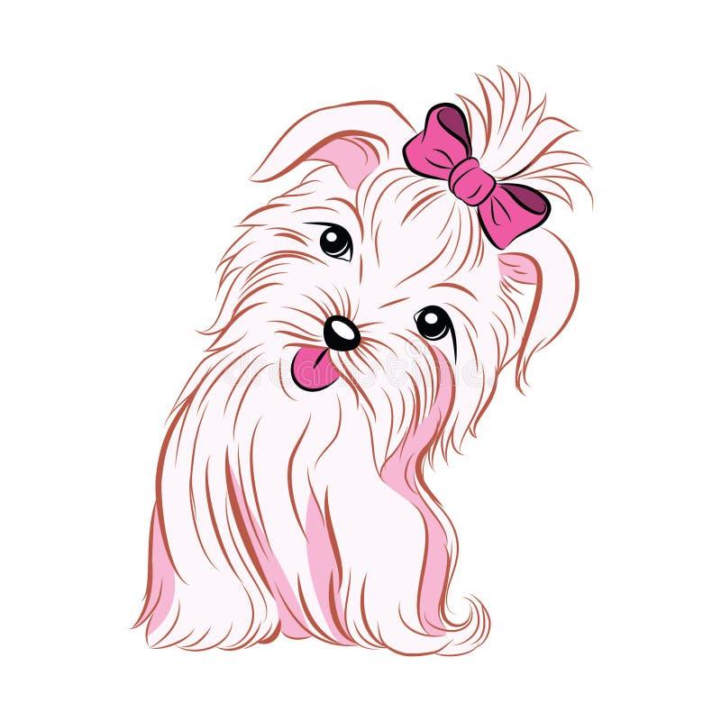 Cão cor-de-rosa bonito da menina que mostra sua língua ilustração royalty free