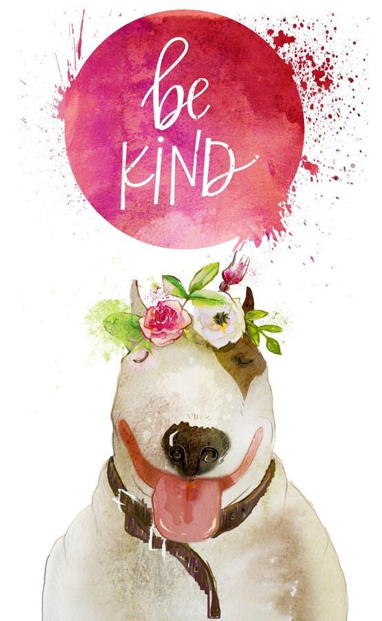 Cão da aquarela com grinalda floral ilustração stock