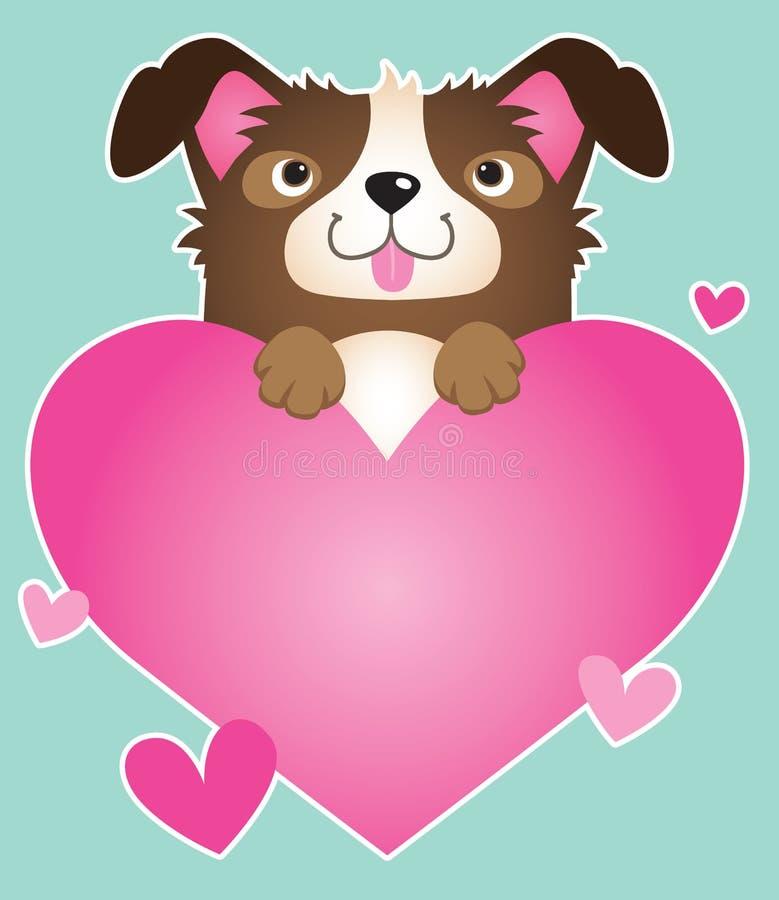 Cão da collie com um coração cor-de-rosa ilustração stock