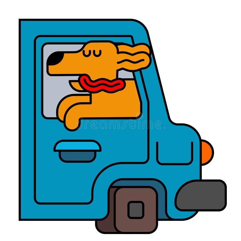 Cão da janela de carro animal de estimação a montar no automóvel Viajar é um animal ilustração royalty free