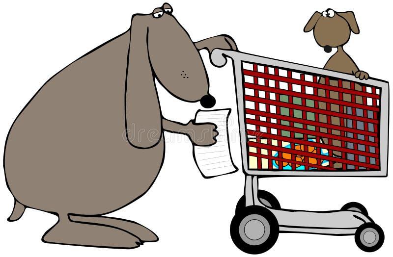 Cão da mamã com um carro de compra ilustração royalty free