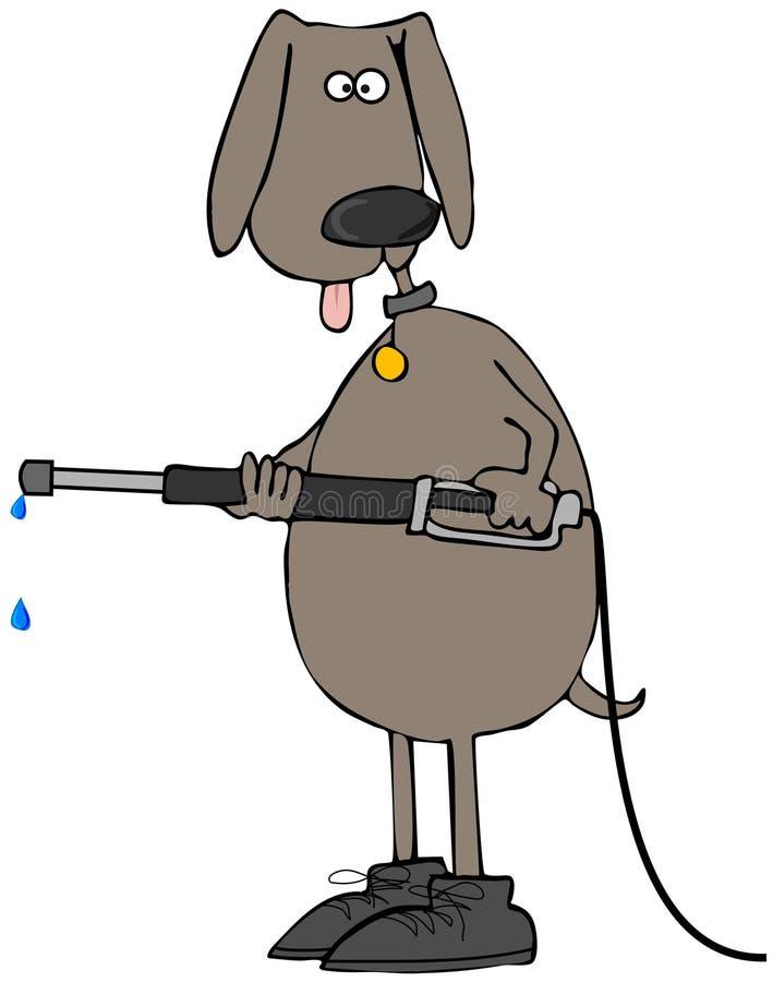 Cão de Brown usando uma arruela da pressão ilustração do vetor