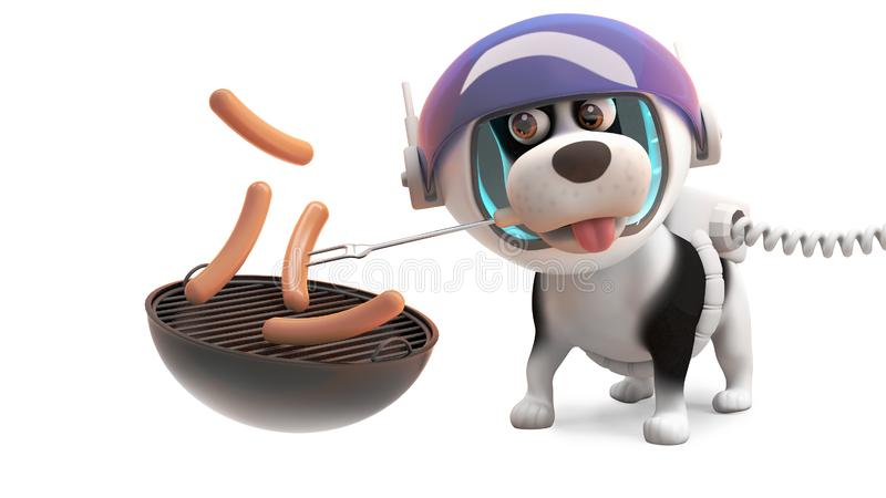 Cão de cachorrinho com fome no spacesuit que cozinha salsichas tipo frankfurter em BBQ do assado, ilustração 3d ilustração do vetor