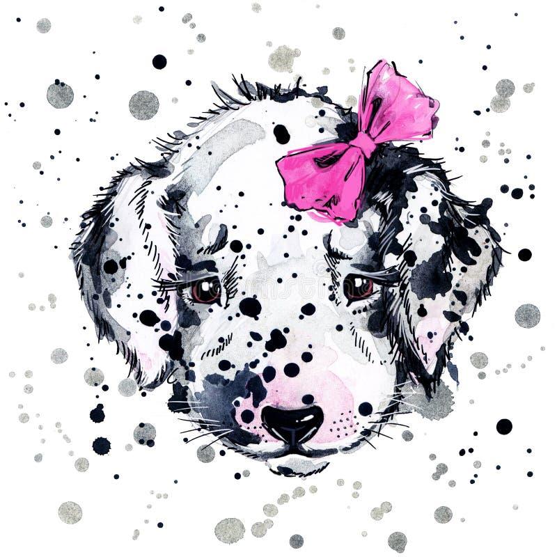 Cão de cachorrinho engraçado, fundo da aquarela ilustração stock