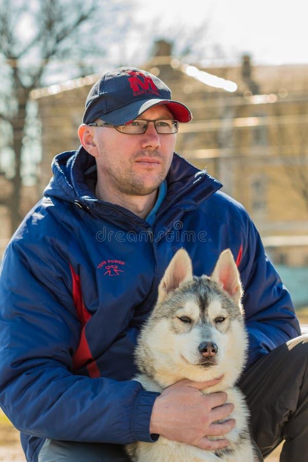 Cão de cachorrinho ronco novo com um homem Gomel, Bielorrússia imagens de stock
