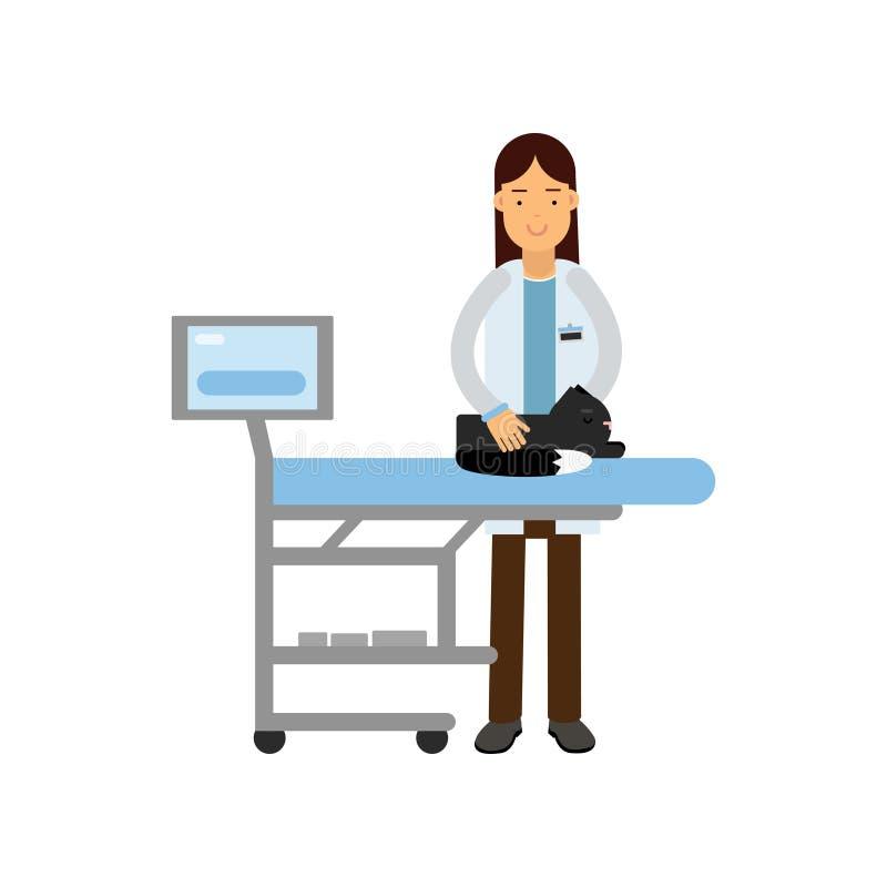 Cão de exame do doutor veterinário alegre na clínica do veterinário, ilustração colorida do vetor dos desenhos animados ilustração royalty free