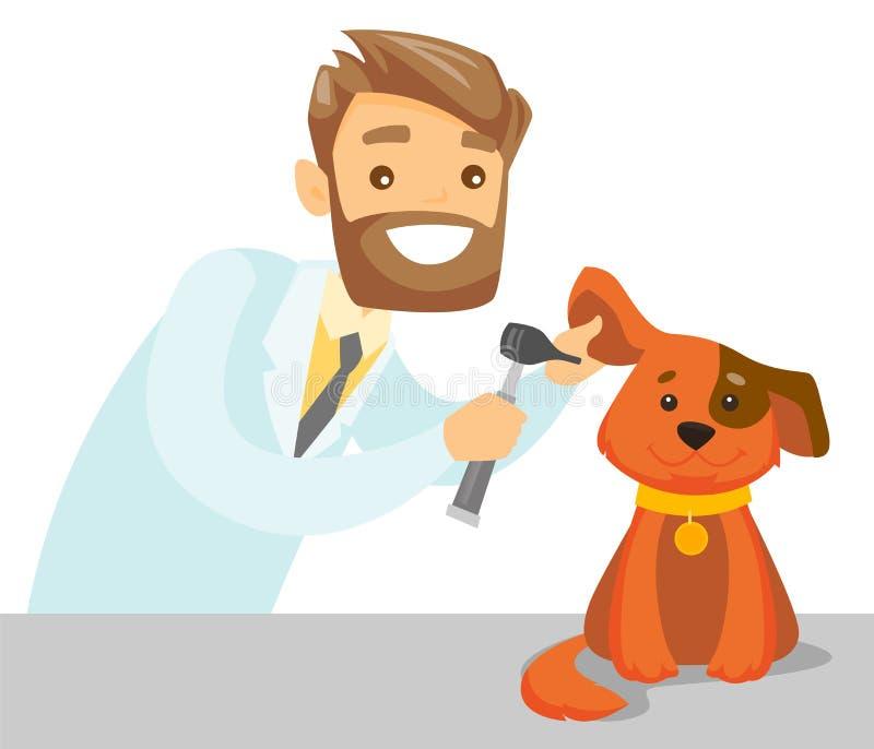 Cão de exame veterinário branco caucasiano ilustração do vetor