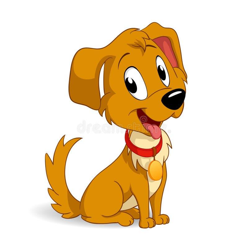 Cão de filhote de cachorro bonito dos desenhos animados ilustração stock
