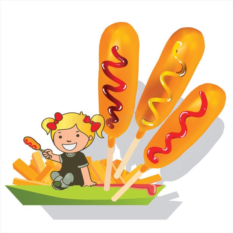 Cão de milho da menina e desenhos animados do vetor das fritadas ilustração stock
