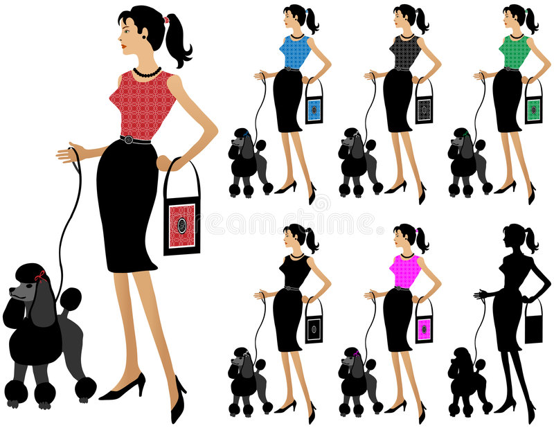 Cão de passeio da mulher da forma ilustração royalty free