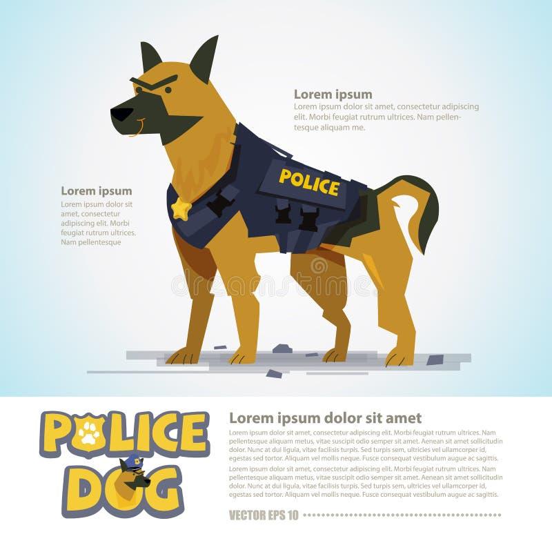 Cão de polícia esperto o projeto de caráter vem com tipográfico - vect ilustração stock