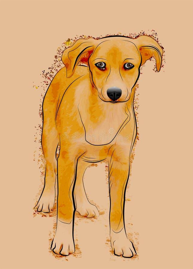 Cão disperso desabrigado ilustração do vetor