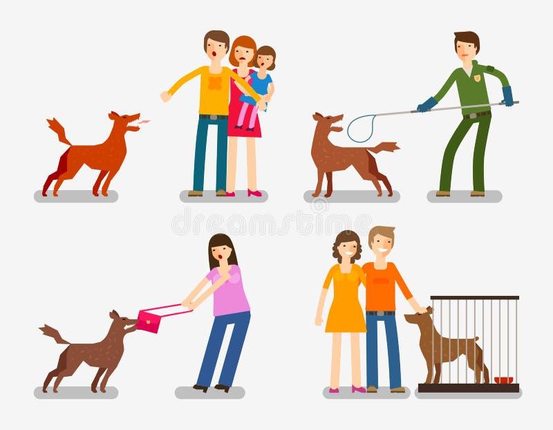 Cão disperso ou abandonado Grupo de ilustração do vetor dos ícones dos desenhos animados ilustração stock