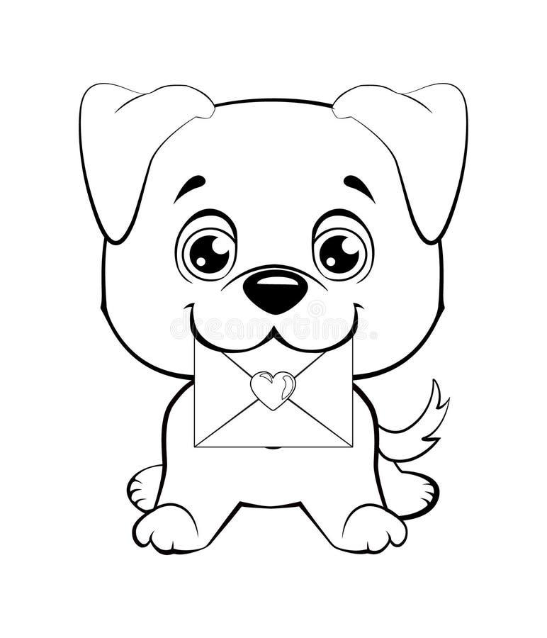 Cão distorcido bonito que entrega o correio ilustração royalty free