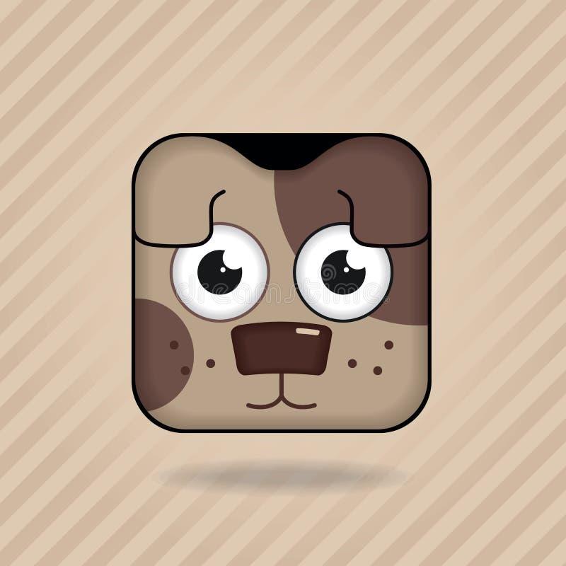 Cão do ícone do App ilustração royalty free