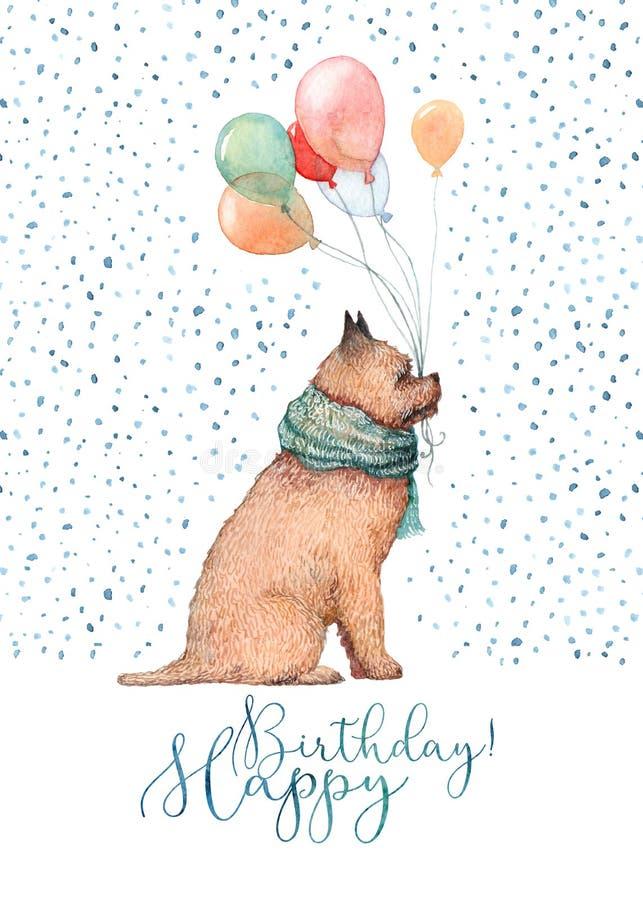 Cão do aniversário da aquarela ilustração royalty free