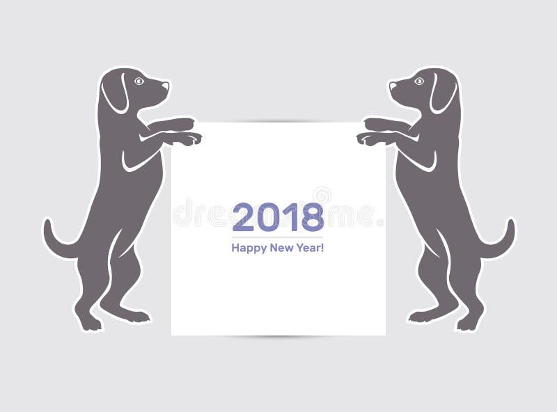 Cão do ano novo feliz 2018 ilustração stock