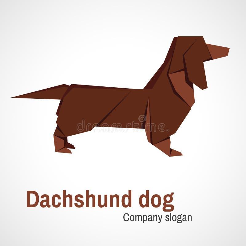 Cão do bassê do logotipo do origâmi ilustração stock
