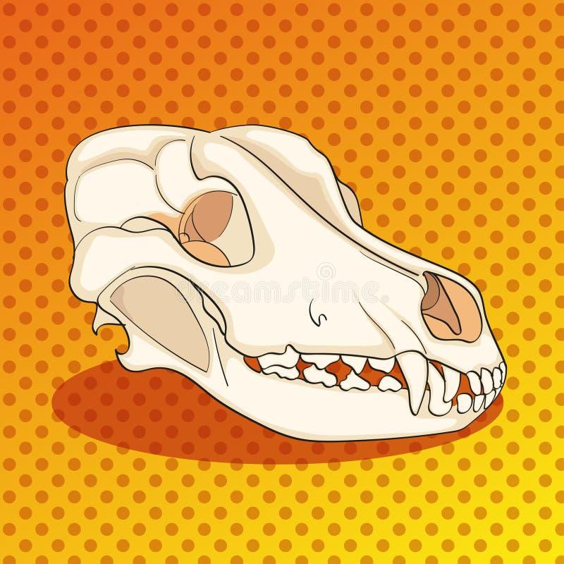 Cão do crânio do pop art lateralmente Fundo da cor Vetor da imitação do estilo da banda desenhada ilustração royalty free