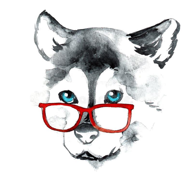Cão do desenho da mão em vidros vermelhos imagem de stock royalty free