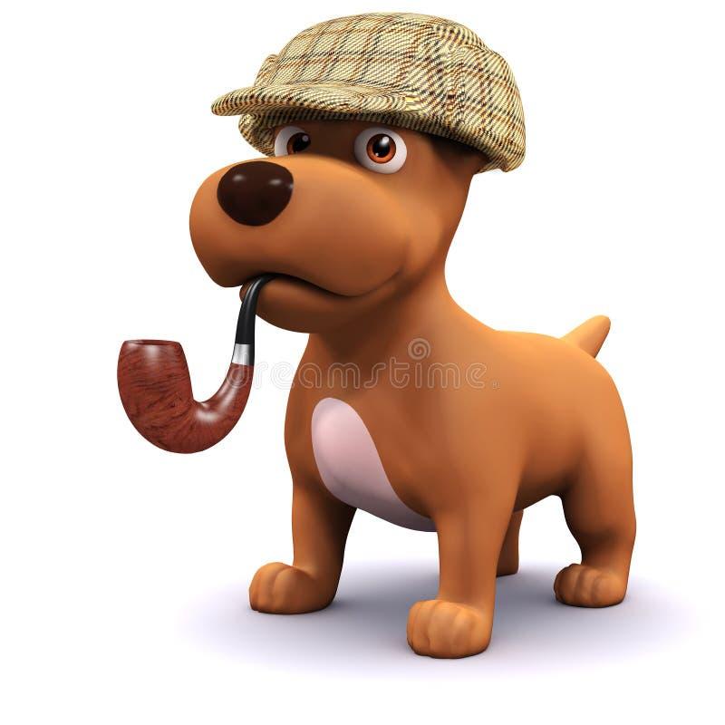 cão do detetive 3d ilustração do vetor