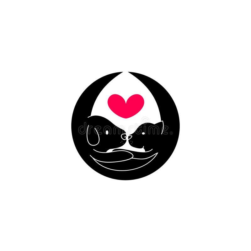 Cão do logotipo que abraça o gato ilustração stock