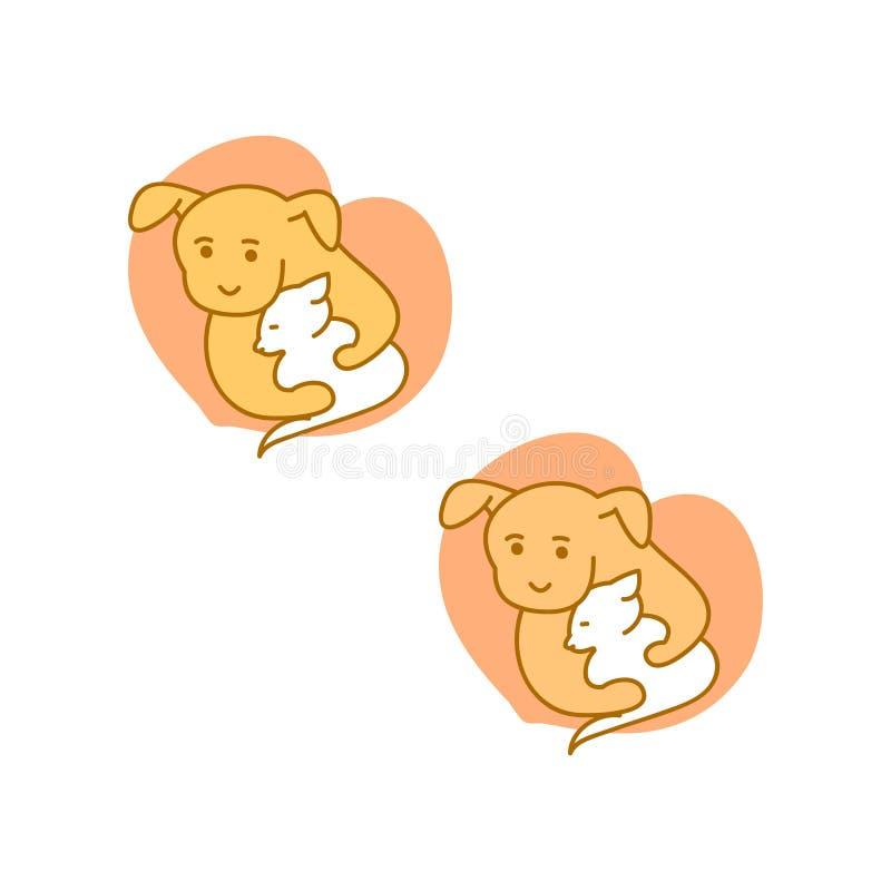 Cão do logotipo que abraça o gato ilustração royalty free