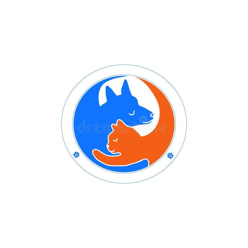 Cão do logotipo que abraça o gato ilustração do vetor