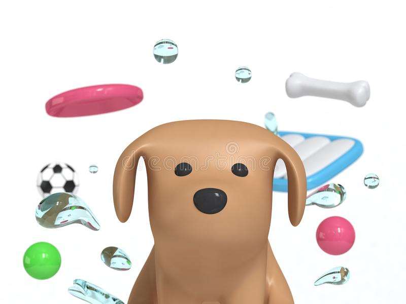 cão do marrom do retrato com a bola 3d do osso do disco de voo do brinquedo do cão da gota da água para render ilustração royalty free